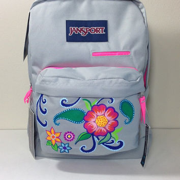 Gray JanSport Laptop Backpack with Hand Painted Flowers, Paislies and Swirls