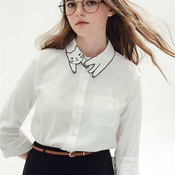 White Cat Embroidered Collar Long-Sleeve Button Shirt