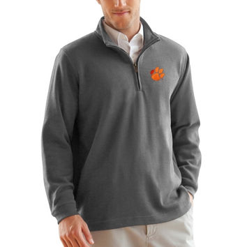 Clemson Tigers Flat Back Rib 1/4 Zip Sweater – Gray