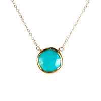 Turquoise necklace - gold lined turquoise - layering necklace - a 22k gold round turquoise wire wrapped onto a 14k gold vermeil chain