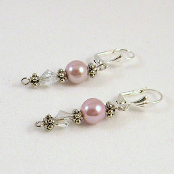 Pink Pearl Earrings, Dangle Earrings