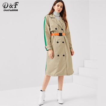 Dotfashion Belted Pocket Colorblock Double Breasted Trench Coat Women Fall Notched Long Sleeve Clothing Elegant Long Outerwear