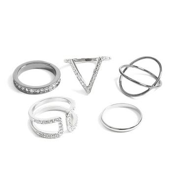 Cubic Zirconia Ring Set at Guess