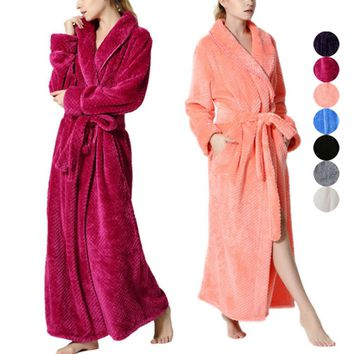 Women Coral Fleece Gown Night Robe