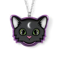 Witch Familiar Cat Necklace - Kawaii Crescent Moon - Alternative Jewelry