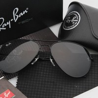 Ray-Ban Aviator RB 3025 Sunglasses Black Frame Black Mirrored Lens
