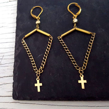 Gold Filled Long Dangle Cross Rustic Earrings, Brass Chain, Triangle Shape, Vintage Brass Bars, Leverback Earrings, Rocker Chic, Boho Chic