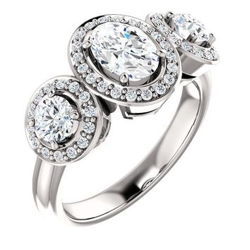 0.75 Ct Oval Three-stone Diamond Engagement Ring 14k White Gold