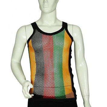 FITTED Rasta Stripe 100% Cotton String Fishnet Mesh Muscle Vest Tank Top | eBay