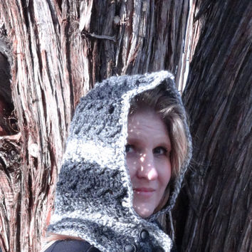 Crochet Hoodie, Neck Warmer, Black White and Grey Hoodie Cowl with button front tab, Warm Wool Yarn, Crochet, Free Shipping USA only
