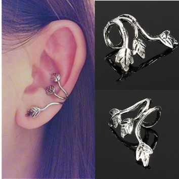 Elegant Silver Plated Ear Cuff Triple Leaf Wrap Helix Cartilage Clip On Earrings (Size: 1) = 1958414468
