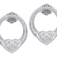 Round Diamond Ladies Heart Fashion Earrings in 10k White Gold 0.08 ctw