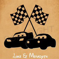 Cars Lightning McQueen and Sally Silhouette Custom Names and Date Art Print