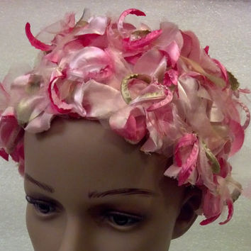 Pink Floral Cloche of Satin Flowers and Fluff - Adorable Small Girly Hat for Easter, Church, Tea, Weddings, Spring