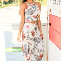 Ivory Tropical Palm Two Piece Set