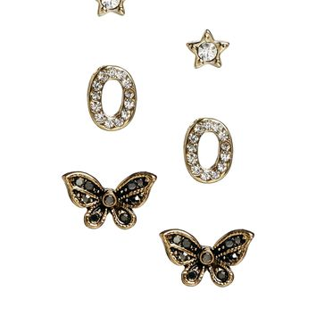 Pieces Loraine Mulipack Studs with Butterfly