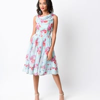 Hell Bunny 1950s Style Light Blue Floral Chiffon Summer Swing Dress