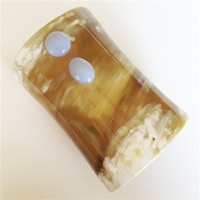 VIVO Light Buffalo Horn Cuff with Blue Lace Agate Cabochons