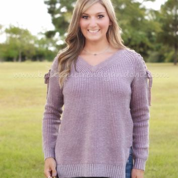 LACE ME UP HI-LO SWEATER