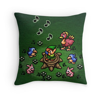 'Flute Boy' Throw Pillow by likelikes