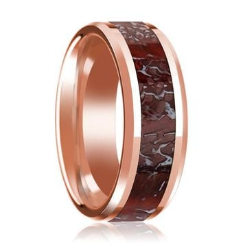 NUBLAR Red Dinosaur Bone Inlay 14k Rose Gold Wedding Band for Men with Beveled Edges - 8MM