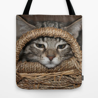 Kitty and the Basket Tote Bag by Legends of Darkness | Society6