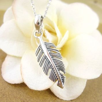 Small and Simple Feather Necklace in Sterling Silver