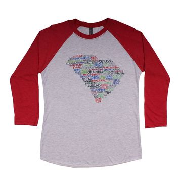 South Carolina Cities and Towns Raglan Tee Shirt in Red by Southern Roots