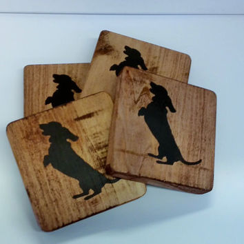 Dachshund - Wood Coaster w/ Dachshund Stencil on stained recycled pallet wood  - set of 4