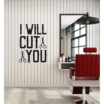Vinyl Wall Decal Barbershop Quote Barber Hair Stylist Hairdresser Stickers Mural (ig5884)