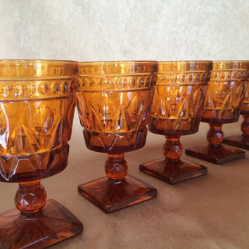 Amber Wine Glasses, Parklane by Colony, Mid Century, Amber Glassware, Diamond Cut, Pedestal Style, Square Footed, Amber Pressed Goblet