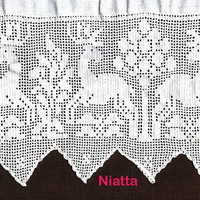 deer pattern, crochet runner, doily, vintage crochet doily pattern, curtain, pillow, filet crochet doilies runner, digital PDF, egst, Niatta