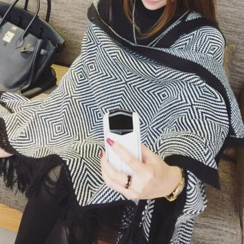 Stylish Hooded Knit Cape Cardigan Coat Scarf