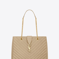 Saint Laurent CLASSIC MONOGRAM SAINT LAURENT SHOPPING BAG IN Dark Beige GRAIN DE POUDRE TEXTURED MATELASSÉ LEATHER | ysl.com