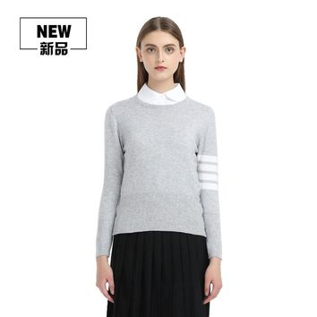 New Love Couple Crewneck Fashion Clothes Sweater TB Men Women Wool Warm Sweaters And Pullovers Grey Red Pink Navy Blue Jumpers