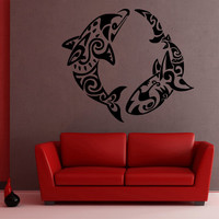 Wall Decor Vinyl Sticker Room Decal Animal Fish Predator Shark Dolphin Sea Wave Ornament Tracery (s74)