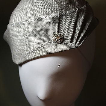 Light Gray Taupe Spring/Summer Art Deco Straw Women's Hat OOAK - 1930s Inspired Hat - Great Gatsby - Downton Abbey