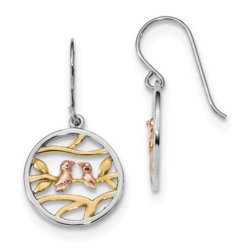 Sterling Silver Rhodium Rose & Gold-tone Birds on Branches Earrings QE13539