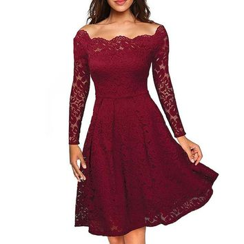 Sexy Retro Style Vintage Floral Long Sleeve Lace Dress