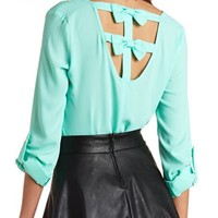 TAB SLEEVE CHIFFON BOW-BACK TOP