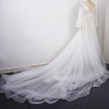 Long Sleeve Pregnant Photography Wedding Dress V Neck Illusion Tulle Layer Lace Corset
