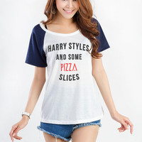 Harry Styles and some pizza slices TShirt White Fashion Funny Slogan Womens Girls Sassy Cute Geek Tumblr Hipster Teenager Blogger Pinterest