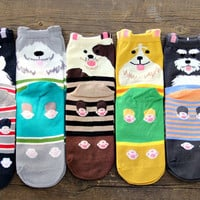 New women lovely dogs Socks cute cartoon sox summer South Korean style Fashion Cotton Printing Tube Socks floor meias Socks