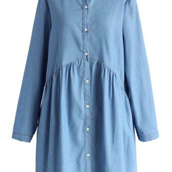 Peter Pan Collar Dolly Dress in Chambray