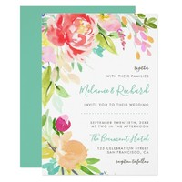 Modern Floral Watercolor Spring Wedding Invitation