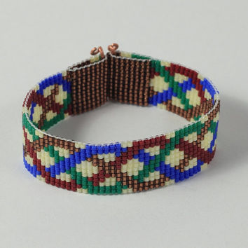 Celtic Braid Bead Loom Bracelet - Irish Jewelry - Beaded Cuff - Red Blue Green - Boho Chic - Hippie Bracelet - Beadweaving - Wide