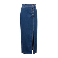 Blue Denim High Waist Button Pocket Maxi Skirt With Slit
