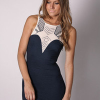 Esther Boutique - river tide cocktail- navy with creme neck detail