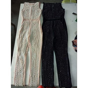 High Quality New Black Pink Beading Sleeveless Jumpsuit Sexy Party Fashion Jumpsuit