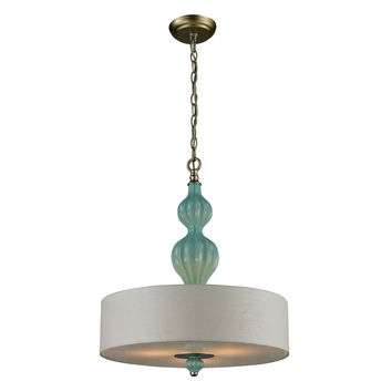 Lilliana 3 Light Pendant In Aged Silver And Seafoam Ceramic